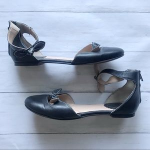 Lands' End D'Orsay Bow Ankle Strap Flats Size 8.5